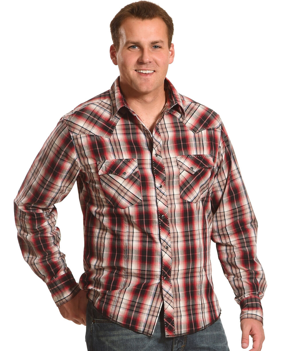 Wrangler Men's Red Plaid Western Fashion Shirt , Red, hi-res