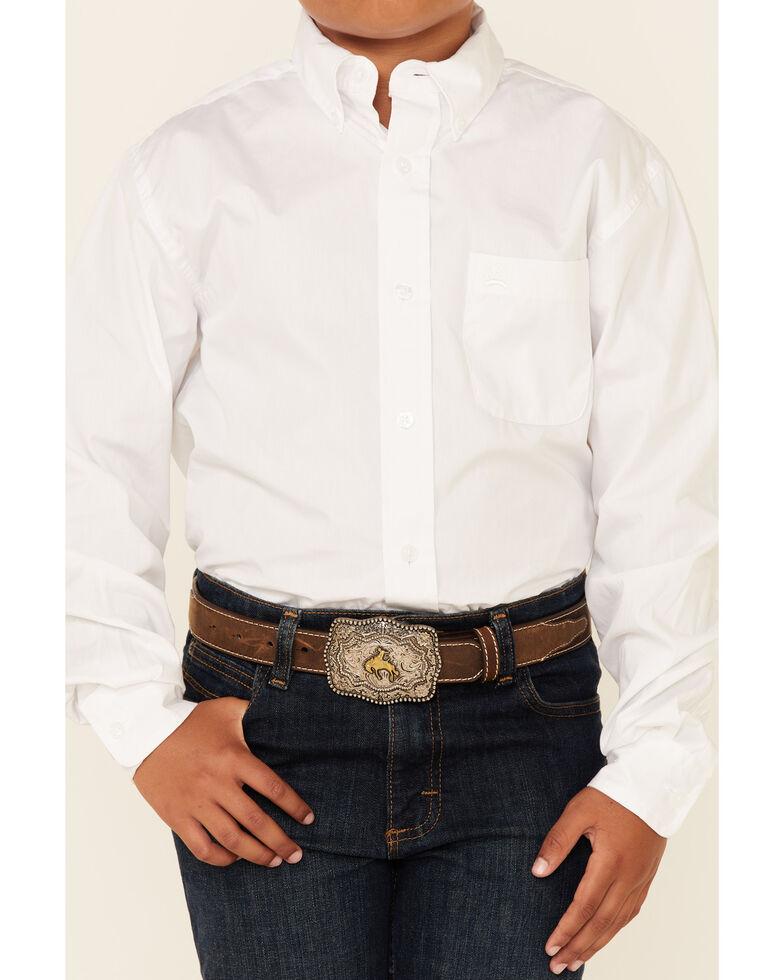 Cinch Boys' Long Sleeve Shirt, White, hi-res