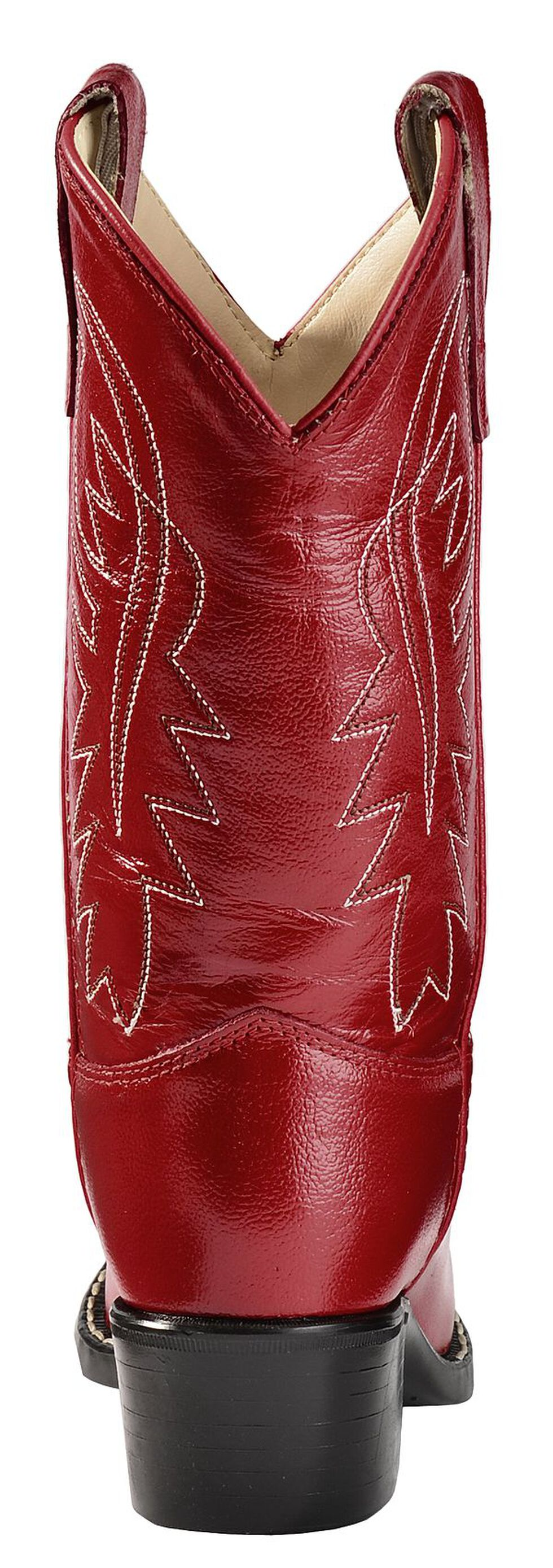 Old West Girls' Red Leather Cowgirl Boots, Red, hi-res