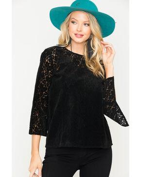 Angel Premium Women's Cyndi Lace Top, Black, hi-res