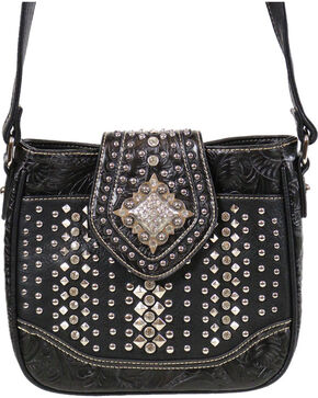 Montana West Women's Black Rhinestone Studded Flap Crossbody Bag , Black, hi-res
