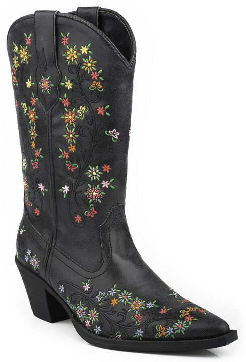 Roper Girls' Floral Embroidered Cowgirl Boots - Snip Toe, Black, hi-res
