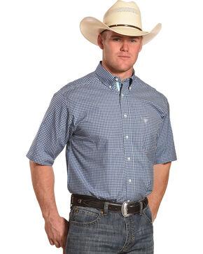 Ariat Men's Pro Series Sheridon Plaid Short Sleeve Button Down Shirt, Navy, hi-res