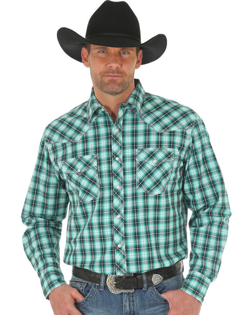 Wrangler 20X Men's Green/White Competition Advanced Comfort Snap Shirt, Green, hi-res