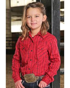 Cruel Girl Girls' Red Tribal Striped Long Sleeve Western Shirt, Red, hi-res