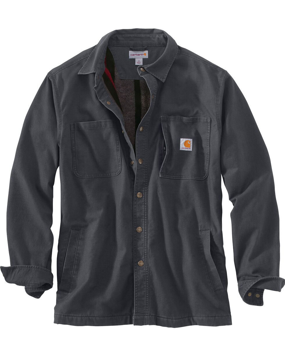Carhartt Men's Rugged Flex Rigby Shirt Jacket - Big , Charcoal, hi-res