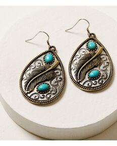Shyanne Women's Ida Feather Teardrop Earrings, Silver, hi-res