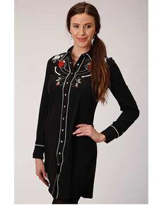 Old West Women's Rose Longhorn Long Sleeve Western Shirt, Black, hi-res