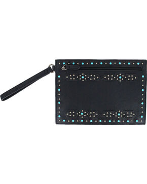 Shyanne Women's Black Studded Western Clutch Wallet , Black, hi-res