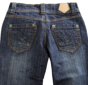 Tin Haul Womens Bootcut Rosie To Go The Pieced Back Pocket Jeans Denim