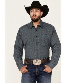 Cinch Men's Black Geo Print Long Sleeve Button-Down Western Shirt , Black, hi-res