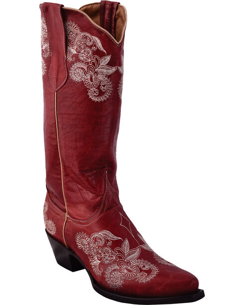 Ferrini Women's Southern Lace Red Cowgirl Boots - Snip Toe, Red, hi-res