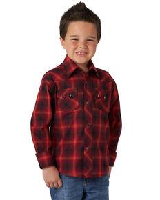 Wrangler Retro Boys' Red Poplin Plaid Long Sleeve Western Shirt , Red, hi-res