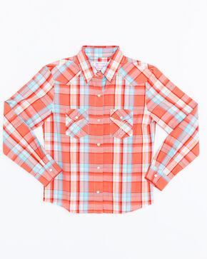 Panhandle Girls' Plaid Snap Long Sleeve Western Shirt , Multi, hi-res