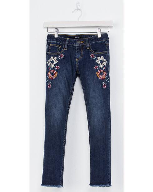 Miss Me Girls' Floral Embroidered Ankle Jeans - Skinny, Indigo, hi-res
