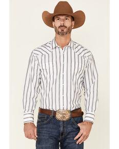Panhandle Men's Navy Satin Dobby Stripe Long Sleeve Snap Western Shirt , Navy, hi-res
