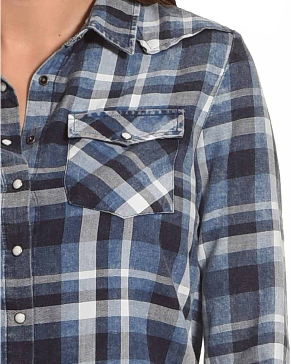 White Crow Women's Distressed Plaid Long Sleeve Shirt, Blue, hi-res
