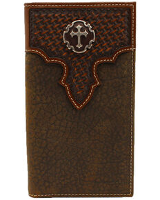 Cody James Men's Basket Weave Cross Concho Rodeo Wallet, Brown, hi-res