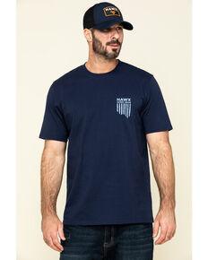 Hawx Men's Navy Vertical Flag Logo Graphic Work T-Shirt , Navy, hi-res