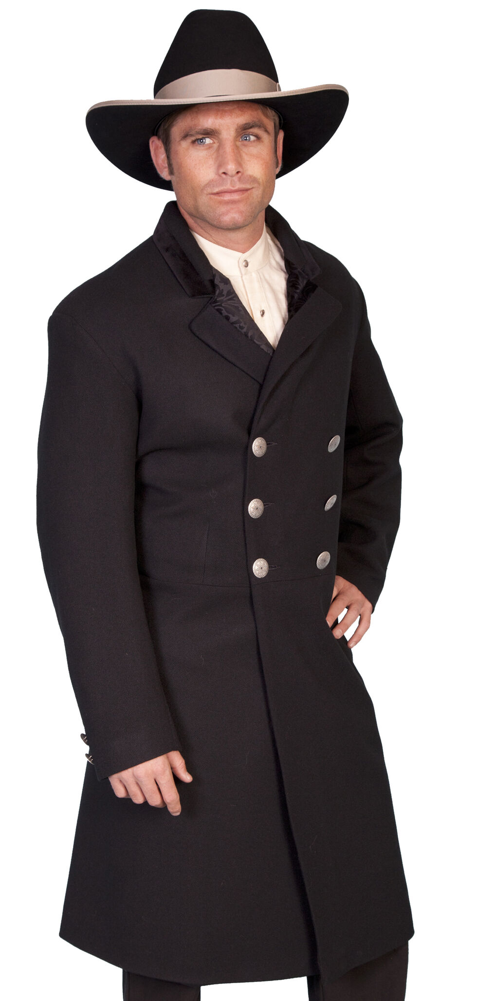 WahMaker Old West Double-Breasted Frock Coat, Black, hi-res