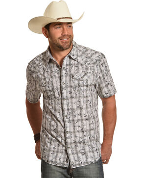 Moonshine Spirit Men's Floral Plaid Short Sleeve Shirt, White, hi-res