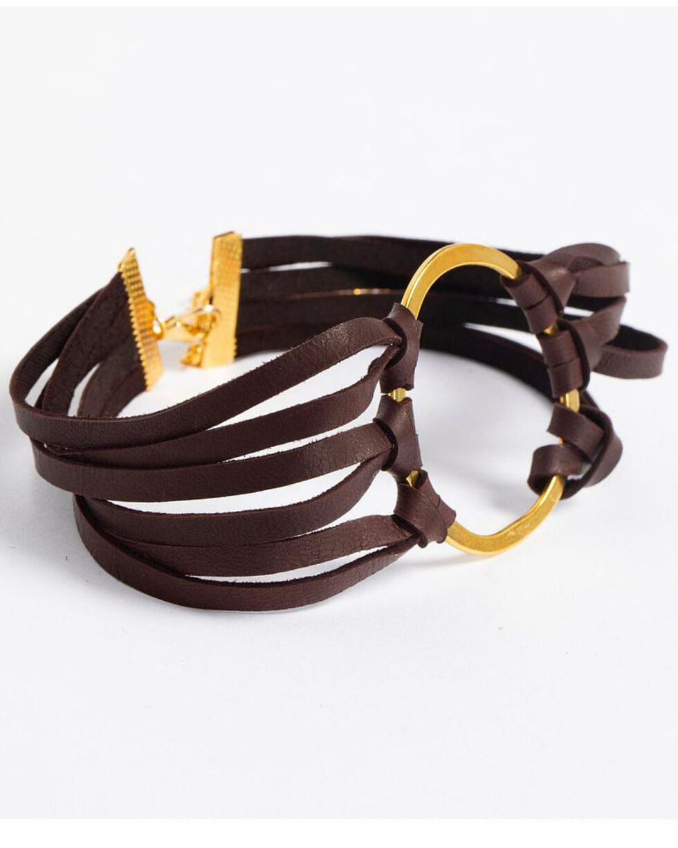 Jewelry Junkie Women's Leather Choker , Gold, hi-res