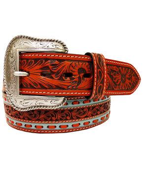 Roper Men's Tan Floral Tooled Leather Belt , Tan, hi-res