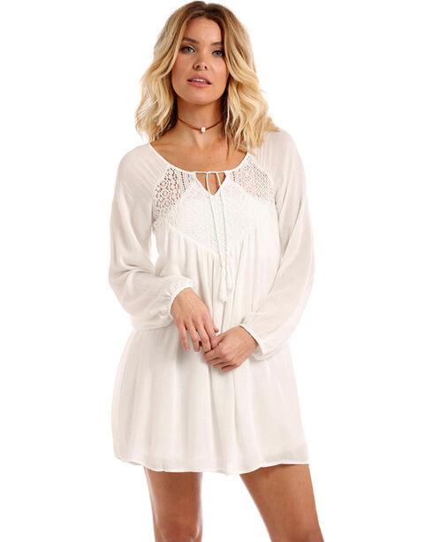 Panhandle Women's Lace Insert Crinkle Peasant Dress, Natural, hi-res