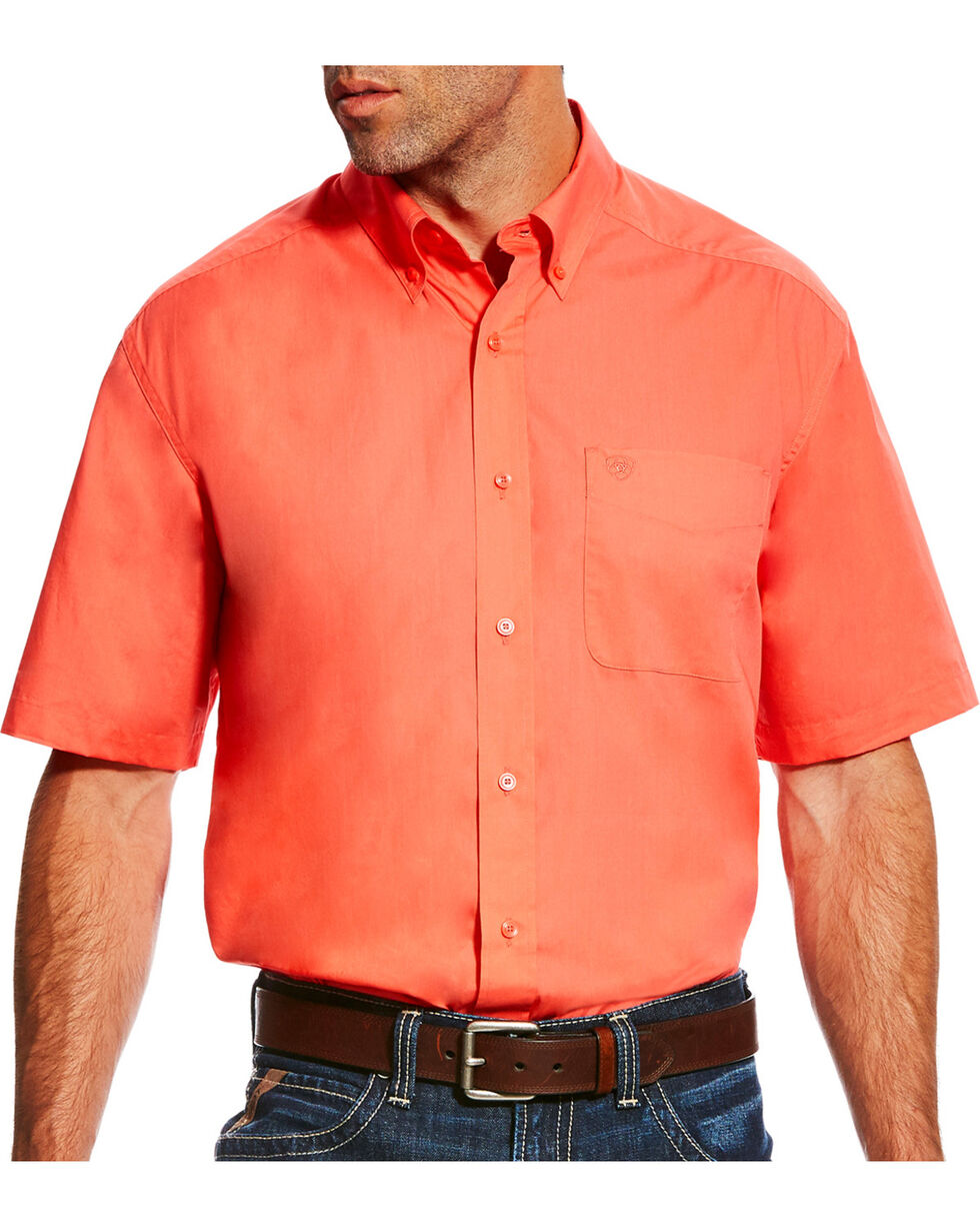 Ariat Men's Orange Dubarry Poplin Western Shirt , Orange, hi-res
