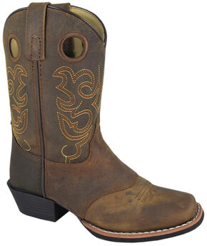 Smoky Mountain Boys' Sedona Western Boots - Square Toe, Brown, hi-res