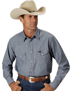 Wrangler Men's Solid Chambray Long Sleeve Work Shirt , Chambray, hi-res