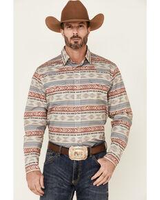 West Made Men's Windswept Aztec Stripe Long Sleeve Snap Western Shirt , Red, hi-res