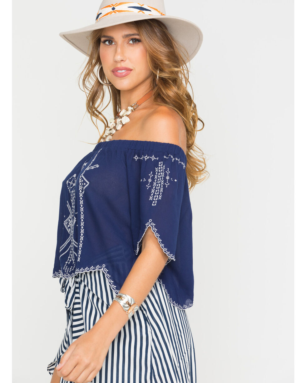 HYFVE Women's Navy Embroidered Scallop Hem Top , Navy, hi-res