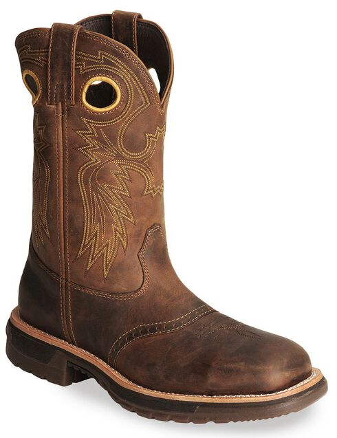 Rocky Ride Western Work Boot - Square Steel Toe, Brown, hi-res