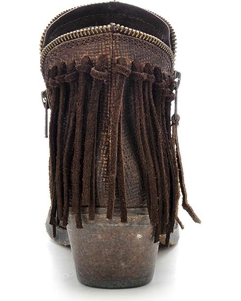Circle G Fringe Zip Short Boots - Round Toe, Brown, hi-res