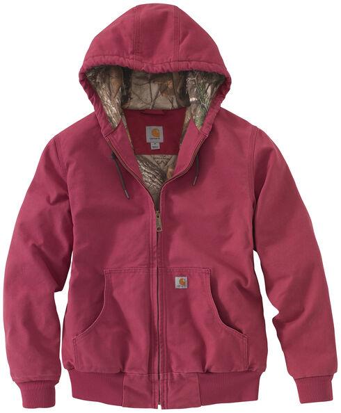 Carhartt Women's Sandstone Active Camo-Lined Jacket, Burgundy, hi-res