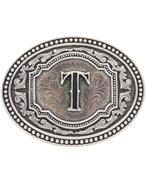 """Montana Silversmiths Men's Initial """"T"""" Two-Tone Attitude Belt Buckle, Silver, hi-res"""