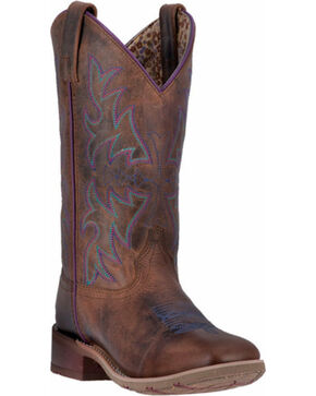 Laredo Women's Ellery Western Boots - Broad Square Toe , Rust Copper, hi-res