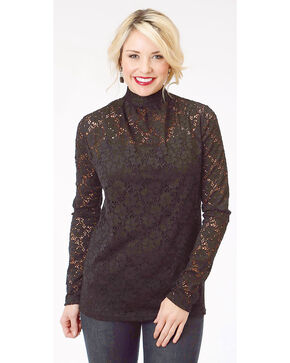 Roper Women's Black Lace Long Sleeve Mock Neck Top, Black, hi-res