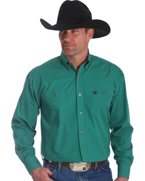 Wrangler Men's George Strait Green Print Long Sleeve Shirt - Big , Green, hi-res