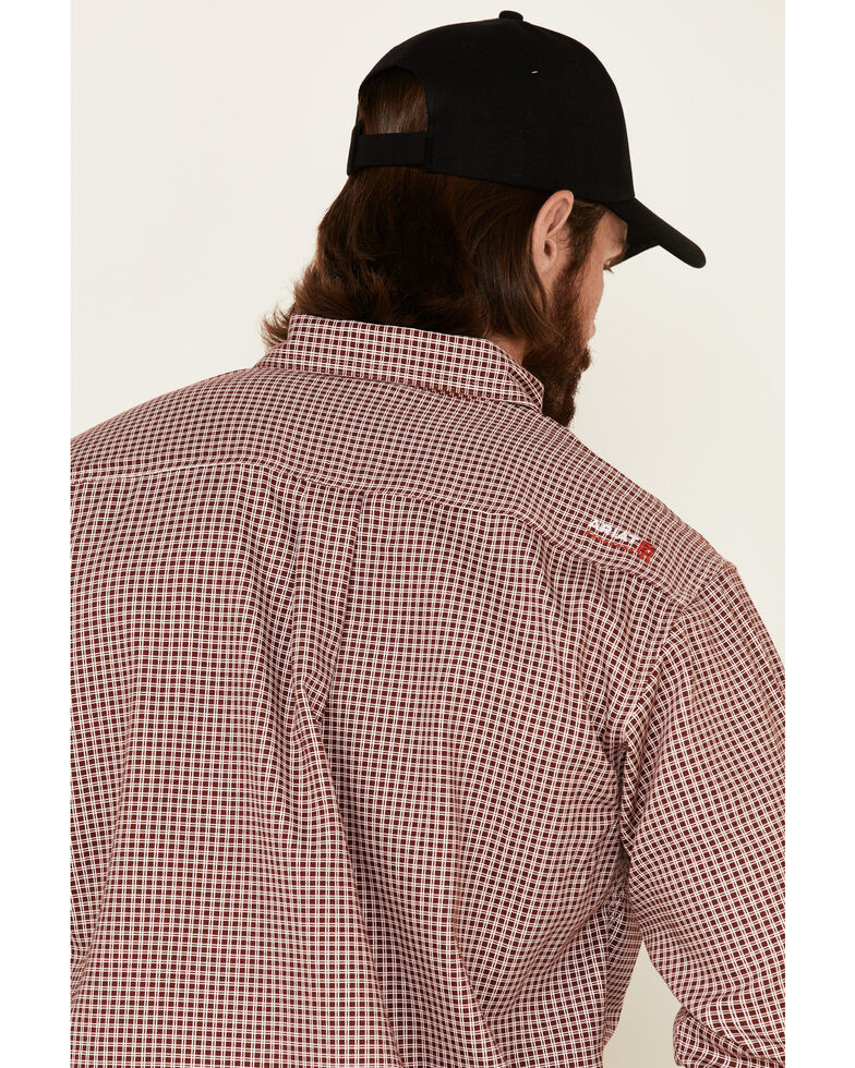 Ariat Men's FR Wine Check Plaid Long Sleeve Work Shirt, Wine, hi-res
