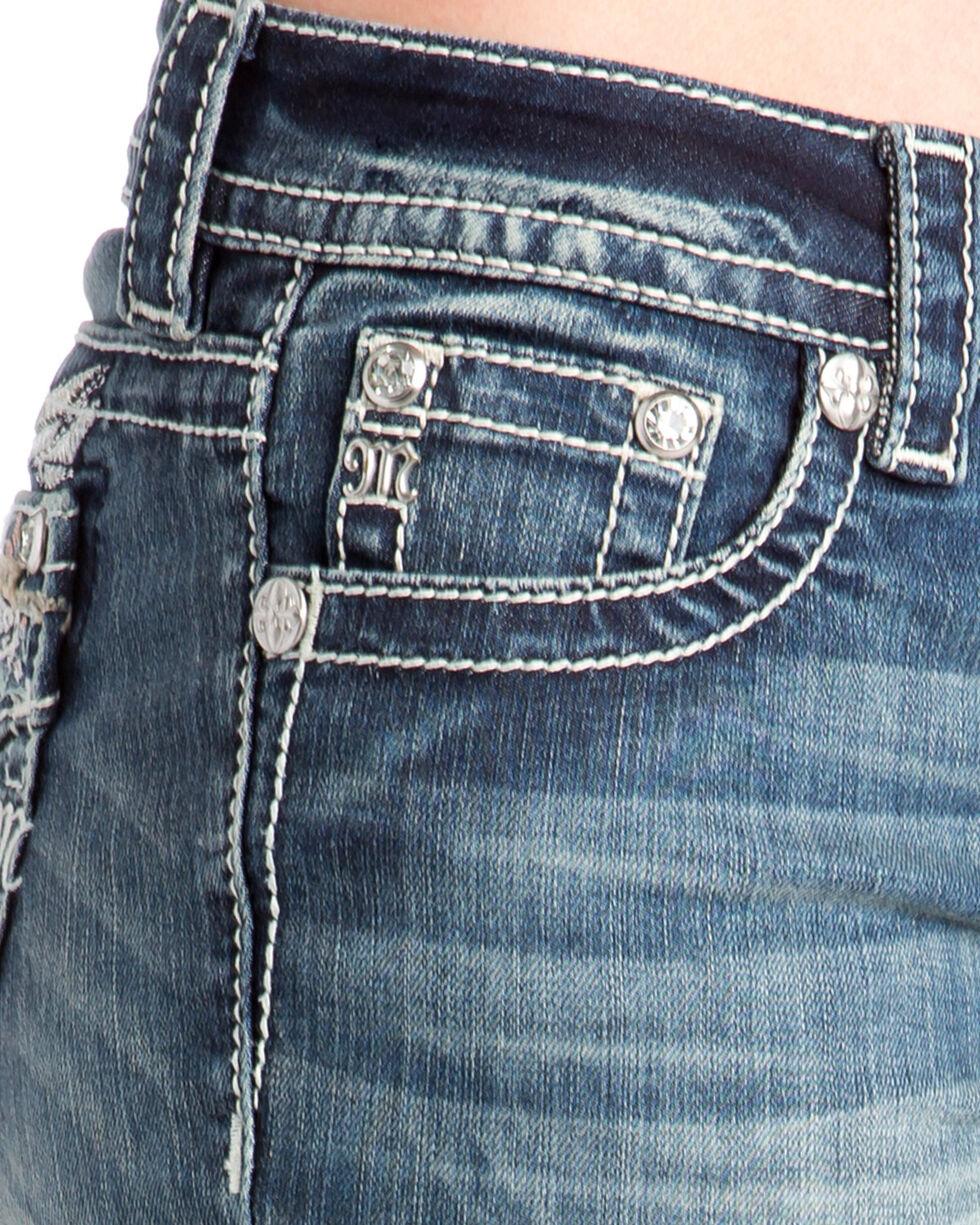 Miss Me Women's Angel Wing Faux Flap Boot Cut Jeans , Indigo, hi-res