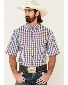 Ariat Men's Navy Check Plaid TEK Short Sleeve Button-Down Western Shirt , Multi, hi-res
