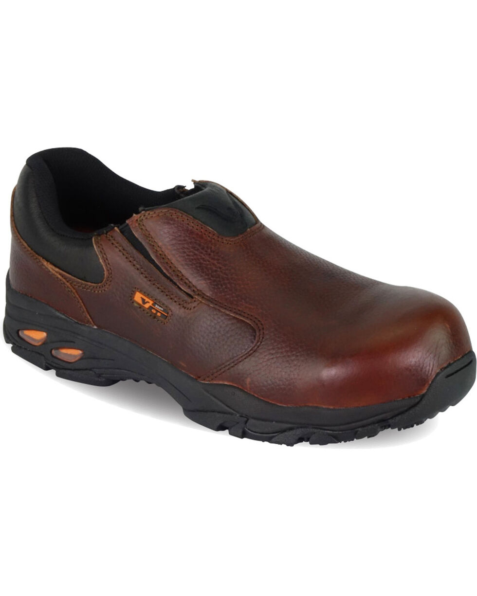 Thorogood Men's VGS-300/ASR/SD Slip On Oxfords - Composite Safety Toe, Brown, hi-res