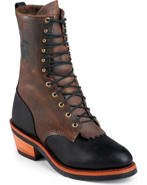 "Chippewa 10"" Lace-up Packer Boots, Black, hi-res"