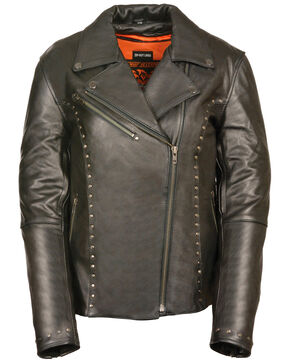 Milwaukee Leather Women's Classic Studded Motorcycle Jacket - 4X, Black, hi-res
