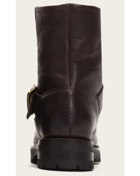 Frye Women's Natalie Short Engineer Lug Shearling Boots, Dark Brown, hi-res