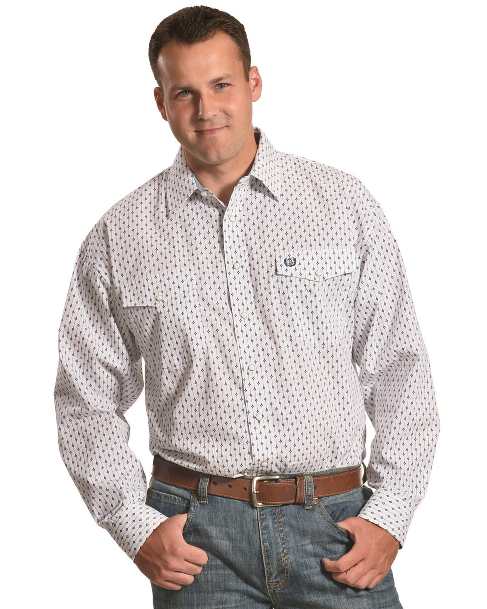 Panhandle Men's White Diamond Print Western Shirt , Blue, hi-res