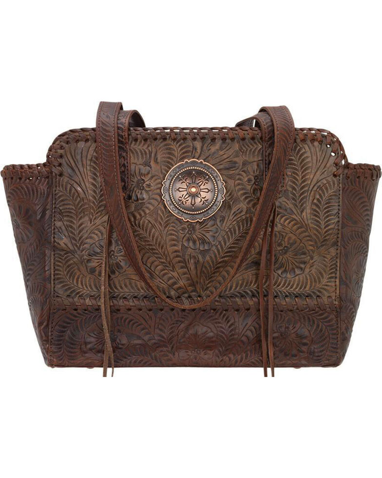 American West Women's Copper Annie's Concealed Carry Tote , Distressed Brown, hi-res