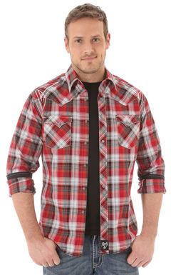 Wrangler Rock 47 Men's Red Plaid Shirt, Red, hi-res